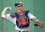 Catcher Evan Gattis (36) of the Rome Braves, Class A affiliate of the Atlanta Braves, prior to the first game of a doubleheader against the Greenville Drive on August 15, 2011, at Fluor Field at the West End in Greenville, South Carolina. Rome defeated Greenville, 6-3. (Tom Priddy/Four Seam Images)