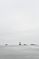 Coastal rock formations on overcast day, Second Beach, Olympic national park, Washington