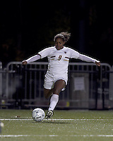 """Boston College forward Natalie Crutchfield (9) crosses the ball. Boston College defeated West Virginia, 4-0, in NCAA tournament """"Sweet 16"""" match at Newton Soccer Field, Newton, MA."""