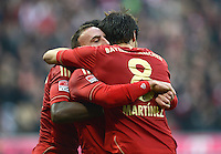 FUSSBALL   1. BUNDESLIGA  SAISON 2012/2013   11. Spieltag FC Bayern Muenchen - Eintracht Frankfurt    10.11.2012 Jubel Franck Ribery mit Javi , Javier Martinez (v. li., FC Bayern Muenchen)