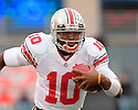 Ohio State QB and Heisman Trophy candidate Troy Smith in action in the game between Illinois and Ohio State November 4, 2006 at Memorial Stadium in Champaign, Illinois.  The Buckeyes defeated the Illini 17 to 10.