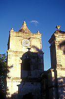 Clock tower and steeple of La Iglesia de la Inmaculada Concepcion, an 18th century church on the Parque Central in Heredia, Costa Rica