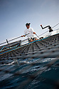 8th October  2010. Almeria. Spain..Pictures of the Oman Sail Masirah EX40 skipper Loick Peyron in action during the press day.