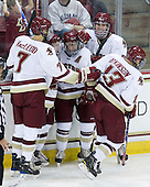 Isaac MacLeod (BC - 7), Joe Whitney (BC - 15), Brian Gibbons (BC - 17), Patrick Wey (BC - 6), Cam Atkinson (BC - 13) - The Boston College Eagles defeated the visiting University of Toronto Varsity Blues 8-0 in an exhibition game on Sunday afternoon, October 3, 2010, at Conte Forum in Chestnut Hill, MA.