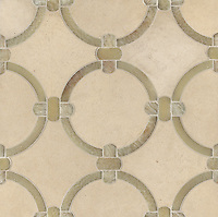 Cary, a stone water jet mosaic, shown in Honey Onyx and Saint Richard, is part of the Ann Sacks Beau Monde collection sold exclusively at www.annsacks.com