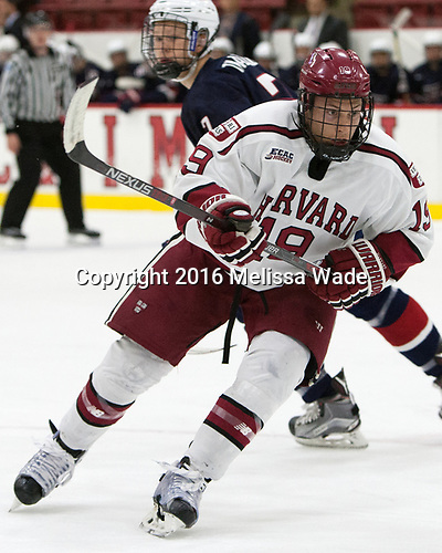 Jake Horton (Harvard - 19) - The Harvard University Crimson defeated the US National Team Development Program's Under-18 team 5-2 on Saturday, October 8, 2016, at the Bright-Landry Hockey Center in Boston, Massachusetts.