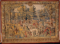 "Barent van Orley   (ca.1488-1541) Tapestry depicting the hunts of Maximilian, called the ""Belles chasses de Guise"": June, Cancer: stag hunt, the meal. Made in Brussels, ca. 1530 Image Size 84"" X 96"" Plus 3"" Burgundy Border for stretching"
