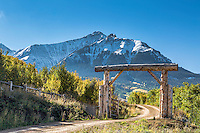 Ranch gate below Dallas Peak on Last Dollar Road in the San Juan Mountains of southwestern Colorado.