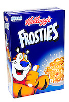 Box of Kellog's Frosties Breakfast Cereal - Jan 2013.