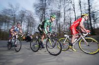 lead breakaway of 5: Laurens De Vreese (BEL/Wanty-GroupeGobert), Maxime Daniel (FRA/AG2R-LaMondiale), Jérôme Cousin (FRA/Europcar), Jay Thomson (RSA/MTN-Qhubeka) &amp; Florian Senechal (FRA/Cofodis)<br /> <br /> 57th E3 Harelbeke 2014