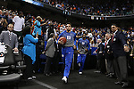 13 March 2015: Duke's Tyus Jones leads his teammates onto the court. The Notre Dame Fighting Irish played the Duke University Blue Devils in an NCAA Division I Men's basketball game at the Greensboro Coliseum in Greensboro, North Carolina in the ACC Men's Basketball Tournament semifinal game. Notre Dame won the game 74-64.