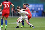 WASHINGTON, DC - MARCH 07: Lina Magull (GER) (20) and Fara Williams (ENG) (17). The England Women's National Team played the Germany Women's National Team as part of the SheBelieves Cup on March 7, 2017, at RFK Stadium in Washington, DC. Germany won the game 1-0.