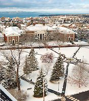 View above Waterman, the UVM Campus Green, Burlington and Lake Champlain. Winter UVM Campus