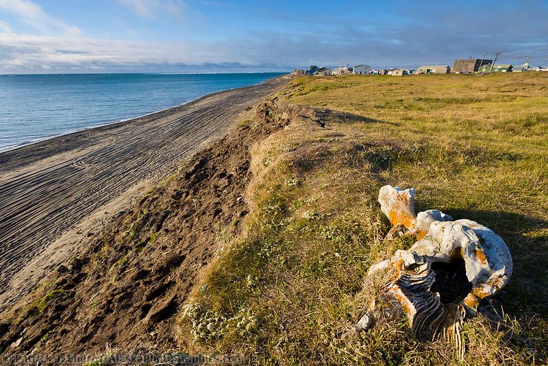 Welcome to Utqiagvik (Barrow), Alaska sign, Arctic ocean in the background.