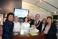 NO FEE PICTURES.25/1/13 Maureen Ledwith, Director Holiday World, Lord Mayor of Dublin is Naoise Ó Muirí and Clare Dunne, President ITAA with Maura Maloney, Lorraine Costello, Dominic Byrne and Lesley Murphy at the Holiday World Show at the RDS, Dublin. Picture:Arthur Carron/Collins