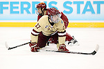 07 APR 2012:  Destry Straight (17) of Boston College catches his breath against Ferris State University during the Division I Men's Ice Hockey Championship held at the Tampa Bay Times Forum in Tampa, FL.  Boston College defeated Ferris State 4-1 to win the national title.  Matt Marriott/NCAA Photos