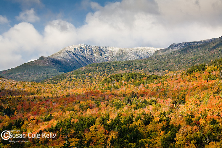 Early snow and glorious fall foliage cover Mount Washington in the White Mountain National Forest, NH, USA