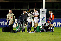 Photo: Richard Lane/Richard Lane Photography. England U20 v South Africa U20. Semi Final. 18/06/2008. England's Jon Fisher is treated after a worring looking injury.