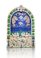 Enamelled terracotta relief panel of the Ascension of Christ made around 1490 for the Cordoni chapel in the church of Saint Agostino in the Citta de Castello, Umbria, Italy by Andrea  della Robbia of Florence.  The Louvre Museum, Paris.