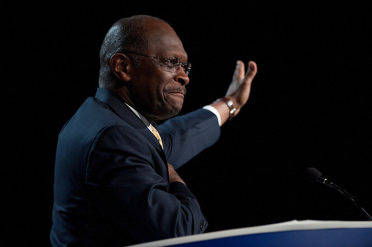 UNITED STATES – OCTOBER 7: Presidential candidate Herman Cain speaks at the Family Research Council's Values Voter Summit in Washington on Friday, Oct. 7, 2011. (Photo By Bill Clark/CQ Roll Call)
