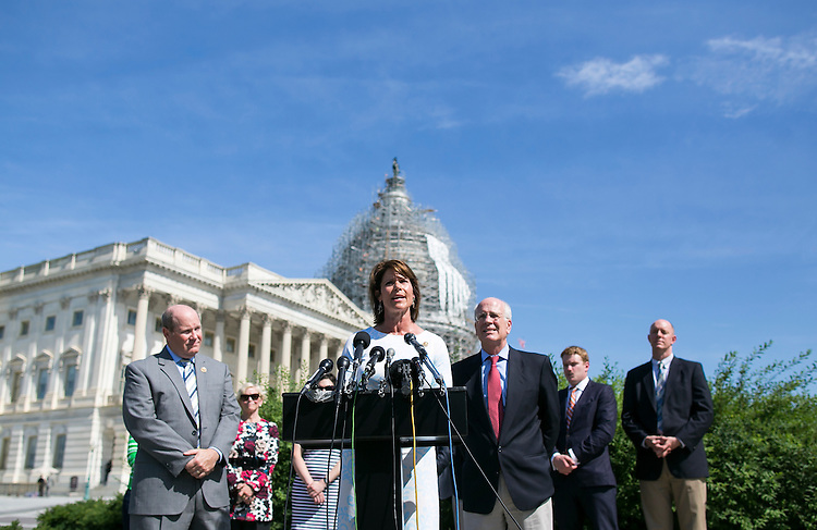 UNITED STATES - JUNE 10 - Rep. Cheri Bustos, D-Ill., speaks during a news conference to discuss efforts to break the current impasse over long-term funding for the federal highway program on Capitol Hill in Washington, Friday, July 10, 2015.(Photo By Al Drago/CQ Roll Call)
