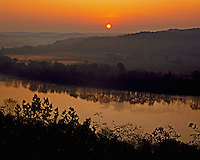 Sunrise on the Ohio River, Wyandotte Woods State Recreation Area with Kentucky on the left bank, Indiana