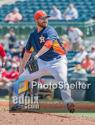 20 March 2015: Houston Astros pitcher Jake Buchanan on the mound during Spring Training action against the Washington Nationals at Osceola County Stadium in Kissimmee, Florida. The Astros fell to the Nationals 7-5 in Grapefruit League play. Mandatory Credit: Ed Wolfstein Photo *** RAW (NEF) Image File Available ***