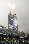 Fireworks are set off before the Seattle Seahawks DenverBroncos game at CenturyLink Field on August 14, 2015 in Seattle Washington.  The Broncos beat the Seahawks 22-20.  © 2015. Jim Bryant Photo. All Rights Reserved.