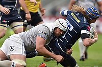 Magnus Lund of Sale Sharks is tackled to ground by Dave Attwood of Bath Rugby. Aviva Premiership match, between Sale Sharks and Bath Rugby on May 6, 2017 at the AJ Bell Stadium in Manchester, England. Photo by: Patrick Khachfe / Onside Images