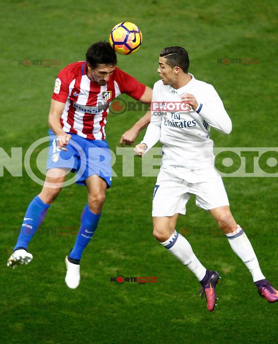 Atletico de Madrid's Stefan Savic (l) and Real Madrid's Cristiano Ronaldo during La Liga match. November 19,2016. (ALTERPHOTOS/Acero) /NORTEPHOTO.COM