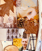 A mood board with an autumn-inspired collection of pictures, scraps of fabric and leaves