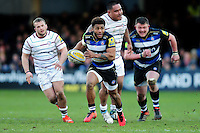 Kyle Eastmond of Bath Rugby goes on the attack. Aviva Premiership match, between Bath Rugby and London Irish on March 5, 2016 at the Recreation Ground in Bath, England. Photo by: Patrick Khachfe / Onside Images