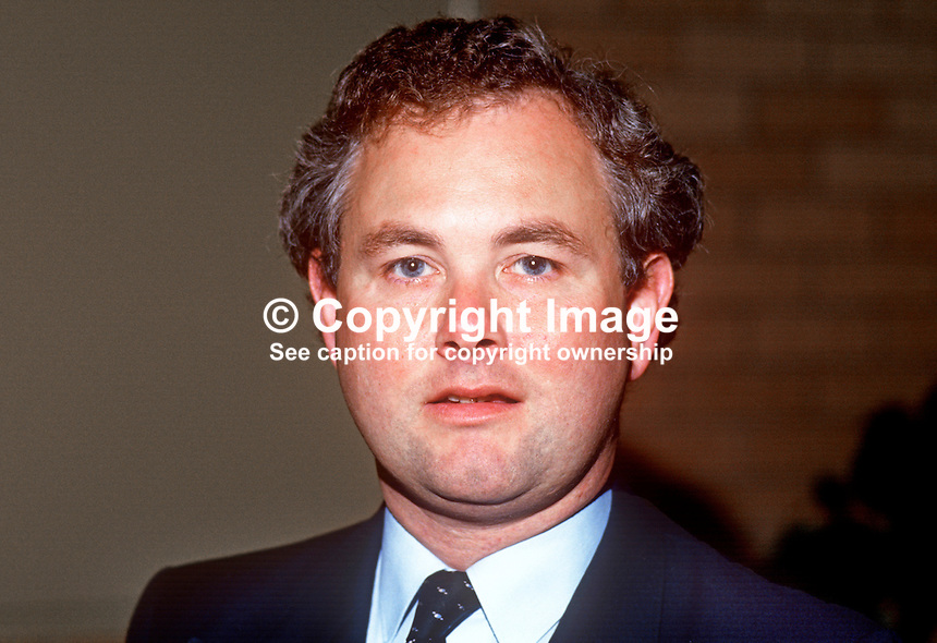 Keith Best, MP, Conservative Party, Ynes Mon, Wales, UK, taken annual conference, September 1986. 19861002KB<br /> <br /> Copyright Image from Victor Patterson, 54 Dorchester Park, <br /> Belfast, UK, BT9 6RJ<br /> <br /> t1: +44 28 9066 1296 (from Rep of Ireland 048 9066 1296)<br /> t2: +44 28 9002 2446 (from Rep of Ireland 048 9002 2446)<br /> m: +44 7802 353836<br /> <br /> e1: victorpatterson@me.com<br /> e2: victorpatterson@gmail.com<br /> <br /> www.victorpatterson.com<br /> <br /> Please see my Terms and Conditions of Use at www.victorpatterson.com. It is IMPORTANT that you familiarise yourself with them.<br /> <br /> Images used on the Internet must be visibly watermarked i.e. &copy; Victor Patterson within the body of the image and copyright metadata must not be deleted. Images used on the Internet have a size restriction of 4kbs and will be chargeable at current NUJ rates unless agreed otherwise.<br /> <br /> This image is only available for the use of the download recipient i.e. television station, newspaper, magazine, book publisher, etc, and must not be passed on to any third party. It is also downloaded on condition that each and every usage is notified within 7 days to victorpatterson@me.com<br /> <br /> The right of Victor Patterson to be identified as the author is asserted in accordance with The Copyright Designs And Patents Act (1988).