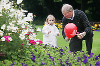 """NO REPRO FEE. World Alzheimer Day launch. 2 year old Ava O Donnell and RTE presenter Micheál O'Muircheartaigh  are pictured in Merrion Square Dublin to discuss a landmark report entitled """"Dementia: It's time for action!"""" to mark  World Alzheimer's Day 21 September. Picture James Horan /Collins Photos"""
