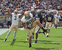 Tyler Eifert makes a catch for a two-point conversion. The Notre Dame Fighting Irish defeated the Pitt Panthers 15-12 at Heinz field in Pittsburgh, Pennsylvania on September, 24, 2011.