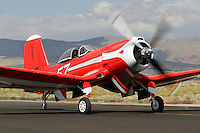 A Goodyear built F2G-1 Super Corsair, piloted by Bob Odegaard, taxies along the ramp at Stead Field in Nevada following the 2007 Reno Air Races. BuNo 88458 was restored and is now owned by Bob Odegaard. The aircraft was previously owned by Cook Cleland and raced in the Tinnerman and Thompson Trophy Races in the 1940's following World War II. Photographed 09/07