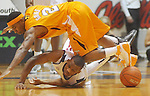 Ole Miss guard Zach Graham (32) and Tennessee's Melvin Goins (2) go for the ball at the C.M. &quot;Tad&quot; Smith Coliseum in Oxford, Miss. on Satursday, January 29, 2011.  (AP Photo/Oxford Eagle, Bruce Newman)