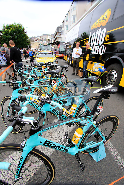 Lotto NL-Jumbo Bianchi Oltre team bikes at the team bus before the start of Stage 3 of the 2016 Tour de France, running 223.5km from Granville to Angers, France . 4th July 2016.<br /> Picture: Eoin Clarke | Newsfile<br /> <br /> <br /> All photos usage must carry mandatory copyright credit (&copy; Newsfile | Eoin Clarke)