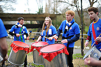 Jamma de Samba perform along the riverside prior to the match. European Rugby Champions Cup match, between Bath Rugby and RC Toulon on January 23, 2016 at the Recreation Ground in Bath, England. Photo by: Patrick Khachfe / Onside Images