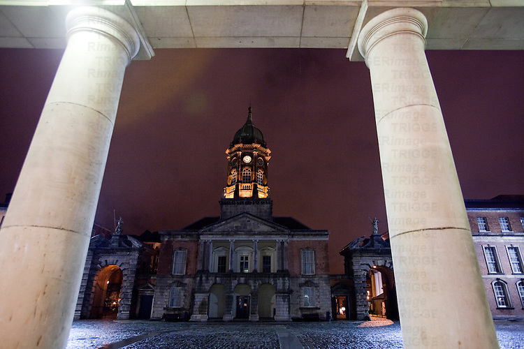 The Bedford Hall and Tower framed by the State Apartments columns, Dublin Castle, Dublin, Ireland
