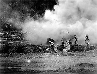 The Rockets Red Glare - U.S. Marines launch a 4.5 rocket barrage against the Chinese Communists in the Korean fighting. Ca. 1951. (Marine Corps)<br /> Exact Date Shot Unknown<br /> NARA FILE #:  127-N-A156882<br /> WAR &amp; CONFLICT BOOK #:  1437