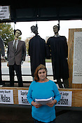 "Effigies of Duplin County and North Carolina elected officials where hung and put on display outside the Clarion Hotel in Raleigh where the State Board of Elections was conducting a hearing into the campaign finances of former Gov. Mike Easley, Tues., Oct. 27, 2009. The effigies were not related to the hearing but a Duplin County land dispute outlined in a diatribe written by Lacy M. Phipps, who instructed media outlets to search ""patriotphipps"" on youtube.com for more information."