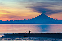 Photographer takes pictures of the plume of gas and vapor venting from the summit of Mt. Redoubt volcano (10,191 ft), of the Chigmit mountains, Aleutian range. View across Cook Inlet approximately 50 miles, at sunset, southcentral, Alaska.