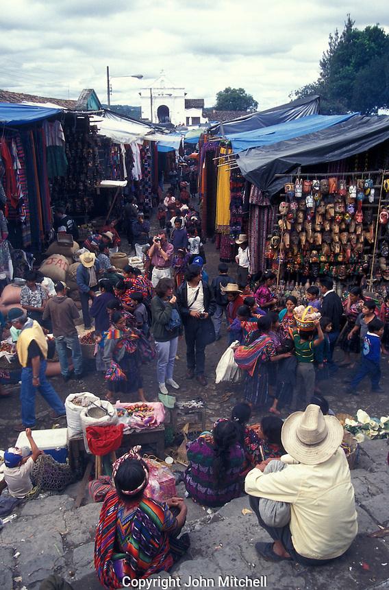 The popular Sunday handicrafts market in Cichicastenango, Guatemala
