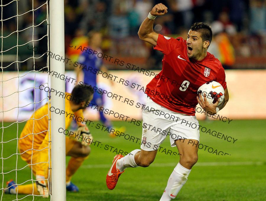 Fudbal Soccer<br /> World Cup 2014 qualifiers match<br /> Serbia v Croatia<br /> Aleksandar Mitrovic  celebrates the goal <br /> Beograd, 06.09.2013.<br /> foto: Srdjan Stevanovic/Starsportphoto &copy;