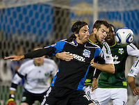 Alan Gordon of Earthquakes battles for the corner kick ball against Eric Brunner of Timbers at Buck Shaw Stadium in Santa Clara, California on August 6th, 2011.   San Jose Earthquakes and Portland Timbers tied 1-1.