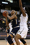 18 February 2016: Notre Dame's Brianna Turner (left) and Wake Forest's Milan Quinn (right). The Wake Forest University Demon Deacons hosted the University of Notre Dame Fighting Irish at Lawrence Joel Veterans Memorial Coliseum in Winston-Salem, North Carolina in a 2015-16 NCAA Division I Women's Basketball game. Notre Dame won the game 86-52.