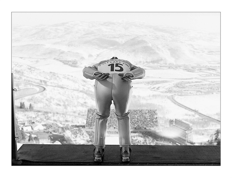"""Before racing down the 120k .Ski Jump hill, racers prepare themselves for their jumps.  Men's 120k Ski Jump.Park City Olympic Park, Park City UT..©2002 David Burnett/Contact (SLOC -""""The Fire Within"""")"""