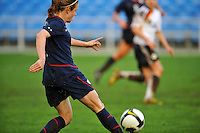 Heather O'Reilly crosses the ball.  The USA captured the 2010 Algarve Cup title by defeating Germany 3-2, at Estadio Algarve on March 3, 2010.
