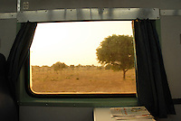 A view of the Thar desert through a train window bound for Jodhpur, Rajastan, India.